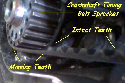 Timing belt with missing teeth or cogs